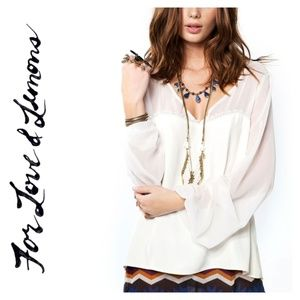 NWOT For Love and Lemons Sweetheart Top in Ivory